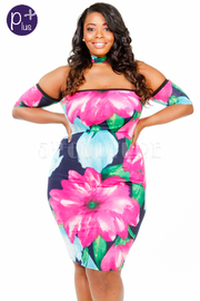 Plus Size Tropical Floral Choker Open Shoulder Fit Dress
