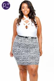 Plus Size Baroque Print Belt Skirt