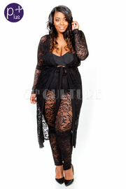 Plus Size Night Out Lacey Long Cardigan Tie Robe Pants Set