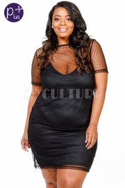Plus Size Short Sleeved Mesh Trim Tube Dress