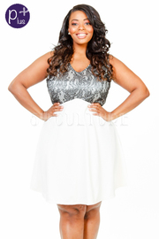 Plus Size V-Neck Laced & Solid Flared Dress