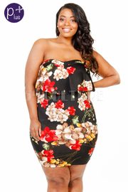 Plus Size Strapless Floral Tube Flounce Dress