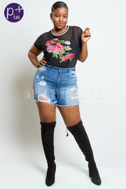 Plus Size Ripped Casual Denim Shorts