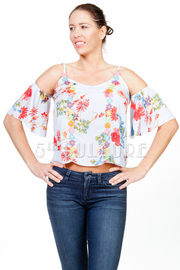 Cold Shoulder Multi Floral Embroidery Top