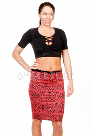 Unique Printed Pencil Belt Skirt