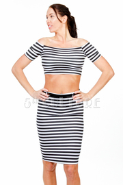 2-Piece Striped Cropped Belted Midi Skirt Set