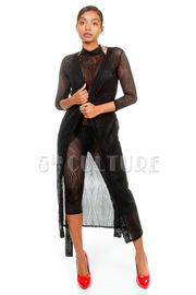 2-Piece Geo All Over Mesh Capri Jumpsuit With Long Tie Rove Cardigan
