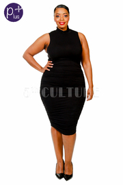 Plus Size High Neck Ruched Sleeveless Midi Dress