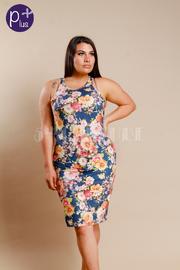 Plus Size Floral Print Suede Midi Dress