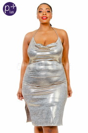 Plus Size Cowl Neck Shiny Mini Club Halter Dress