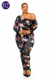 Plus Size 2-Piece Floral Jogger Pants Set