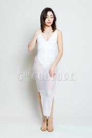 Sexy V Mesh Tube Maxi Bodysuit Dress