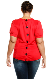 Plus Size Button Back Detailed Short Sleeved Solid Top