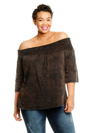 Plus Size Smocked Off Shoulder Washed Out Top