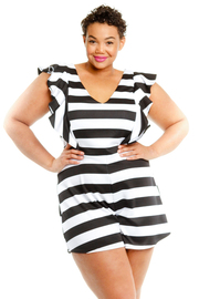 Plus Size V-neck Cute Striped Ruffled Trim Summer Romper