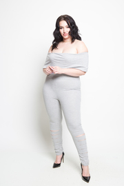 Plus Size Off Shoulder Sliced Knee Fit Jersey Jumpsuit