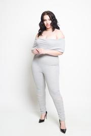 Plus Size Off Shoulder Sliced Knee Fit Jersey Jumpsuit