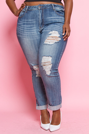 Plus Size Ripped Faded Out Denim Jeans