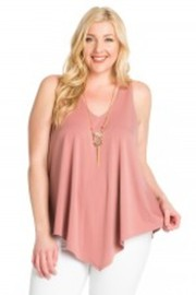 Plus Size Spring Unbalanced Solid Top