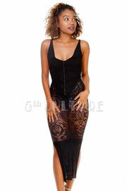 Sexy Cocktail Lacey Midi Bodysuit Dress