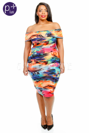Plus Size Watercolor Tropical Off Shoulder Tube Dress