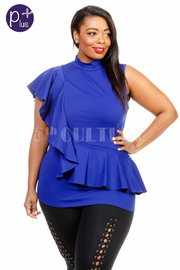 Plus Size Sexy In Ruffle Side Casual Top
