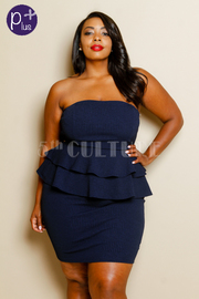 Plus Size Strapless Ruffle Layer Peplum Tube Dress