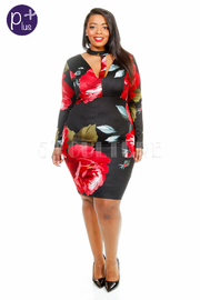 Plus Size Long Sleeved Cutout Keyhole Roses Bodycon Dress