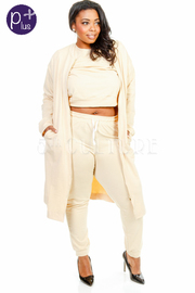3-Piece Long Jacket With Sporty Pants Cropped Set