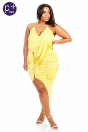 Plus Size Asymmetrical Draped Spaghetti Strap Dress