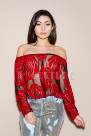 Off Shoulder Roses Mesh Crop Top
