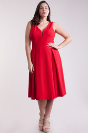 Plus Size Sweetheart Dancing Pleat Flared Dress