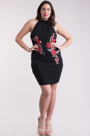 Plus Size Embroidered Roses Bodycon Dress