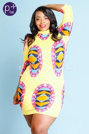 Plus Size 3/4 Sleeved Printed Midi Dress