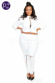 Plus Size Lets Get Fit Eyelet Tie Up Cropped Pants Set