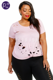 Plus Size Ripped Short Sleeved Basic Top