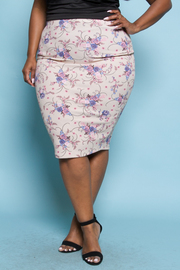 Plus Size Spring Chic Floral Pencil Skirt