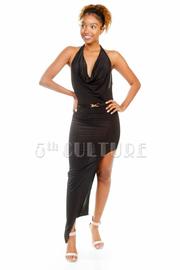 Cowl Neck Goddess Slit Side Halter Maxi Gown