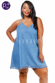 Plus Size Summer Nights Chambray Tunic Dress