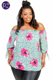 Plus Size Floral Off Shoulder Tunic Top