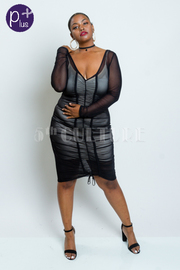 Plus Size All Over Mesh Tube Sexy Dress