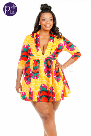 Plus Size Colorful Printed V-neck Skater Dress