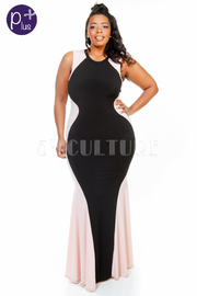 Plus Size Mermaid Two Toned Maxi Gown
