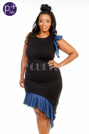 Plus Size Classic Denim Trim Asymmetric Dress
