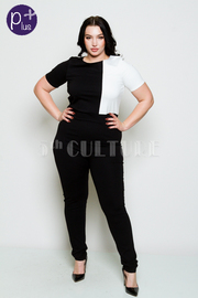 Plus Size Two Toned Short Sleeved Fit Jumpsuit