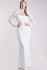 Plus Size Elegant Laced Cutout Maxi Gown