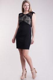Plus Size Laced & Solid Mesh Shoulder Mini Dress
