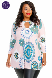Plus Size Boho Printed Circle 3/4 Sleeved Top