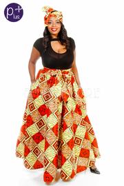 Plus Size Squared African Dashiki Skater Maxi Skirt