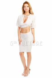 Destroyed Cropped Midi Skirt Set